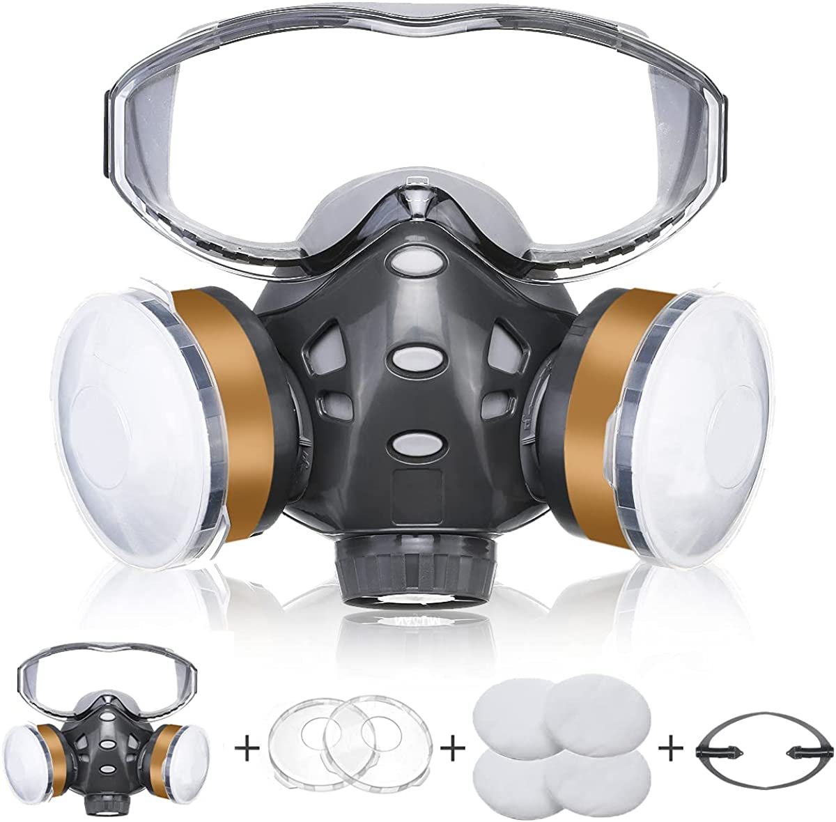 Genérico 8200 Facial Cubierta Antipolvo, Facial Cubierta Protectora con Gafas Fijas, 4 x Filtros de Algodón, Facial Cubierta Reutilizable para Polvo / Partículas / Vapor / Gas para Aerosol / Pintura