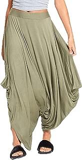 Womens Plain Ali Baba Baggy Harem Trouser Ladies Gathered Draped Lagenlook Pant