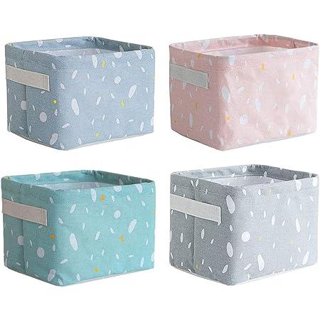 Gobesty Petits paniers de rangement, 4 paquets Mini bacs de rangement carrés pliables avec poignée Bacs de rangement en lin naturel et coton Paniers de rangement pour salle de bain