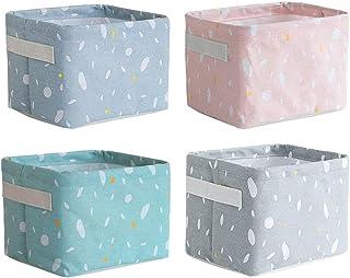 Gobesty Petits paniers de rangement, 4 paquets Mini bacs de rangement carrés pliables avec poignée Bacs de rangement en li...