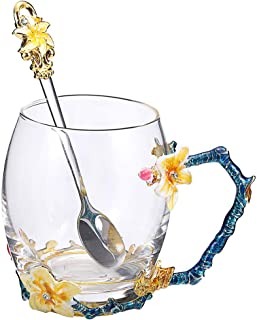 SEMAXE Handmade Glass Cup with Spoon Set and Cloisonne Handle,can be used as Teacup, Coffee Mug, Drinking Cup and Mother's Day, Christmas, Wedding Anniversary, Birthday Gifts(Apricot flower,Yellow)