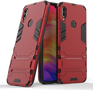 WindCase Redmi Note 7 Case Dual Layer Shock-Absorption TPU +PC Hybrid Heavy Duty Armor Defender Protective Kickstand Case Cover for Xiaomi Redmi Note 7 Pro Red