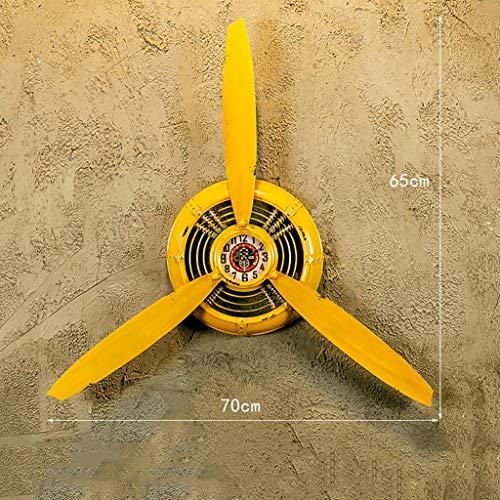 Avion Creative Propeller Horloge Murale Loft Décoratif Industriel Style Rétro Bar Café En Fer Forgé Personnalité Décoration Murale Horloge Murale (Couleur : Le jaune)