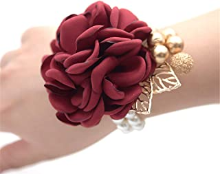 Bridal Corsage Wedding Bridal Wrist Corsage Prom Wrist Flower Corsage Flowers for Wedding Party,Graduation Party (Wine Red)