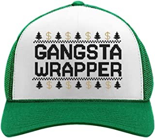 Christmas Gangsta Wrapper Funny Holiday Trucker Hat Mesh Cap