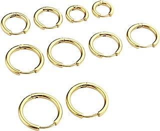 8-20mm Gold Hoop Earring Set Gauge 18G Ear Nose Tongue Nipple Body Piercing Ring Stainless Steel Cartilage Loop