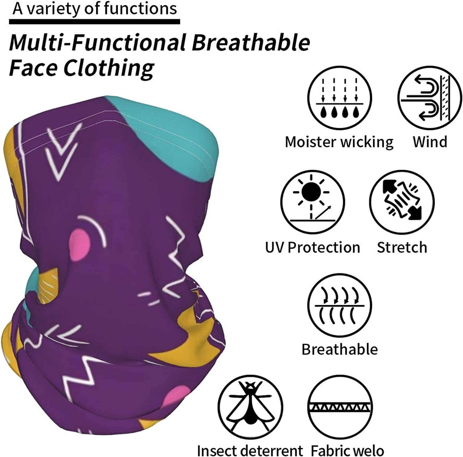 Funny 80s 90s Retro6 Neck Gaiter Multipurpose Headwear Ice Silk Mask Scarf Summer Cool Breathable Outdoor Sport 4 Pcs