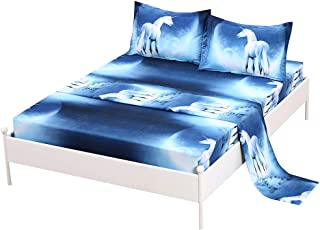 SDIII 3PC Unicorn Bedding Sheet Sets Twin Size Galaxy Bed Sheets with Flat Fitted Sheet for Boys, Girls and Teens