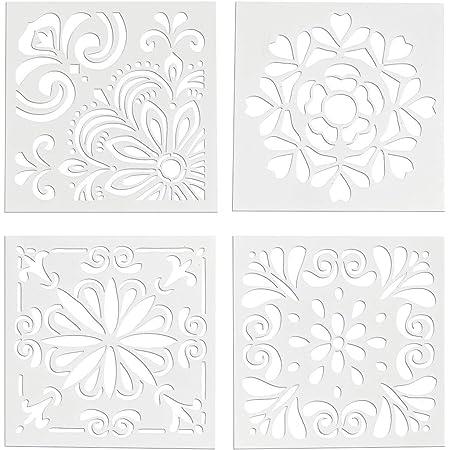 ROSENICE 4PC Spray Templates Retro Totem Reusable Stencils Set Cut Painting Stencil Floor Wall Tile Fabric Wood Stencils Elegant Flower Spray Template Mold Cake Decor Mold DIY Baking Tool