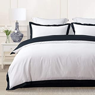 JOHNPEY Duvet Cover Queen King Size,1000TC Egyptian Cotton 3pc Hotel Bedding Set - Silky Soft Comforter Cover,Sateen Weave,Button Closure (Black, King)
