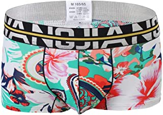 Whear Men's Underwear Floral Print Boxers Briefs Classic Bikini Short Cotton Multi Color Soft Pouch Underpant Pack of 5