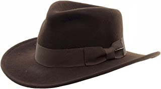 788406f5 Indiana Jones Men's Wool Felt Water Repellent Outback Fedora with Grosgrain