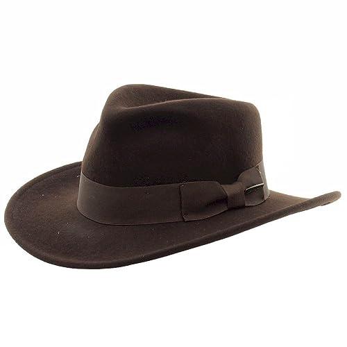 Indiana Jones Men s Wool Felt Water Repellent Outback Fedora with Grosgrain 678eff5bd58