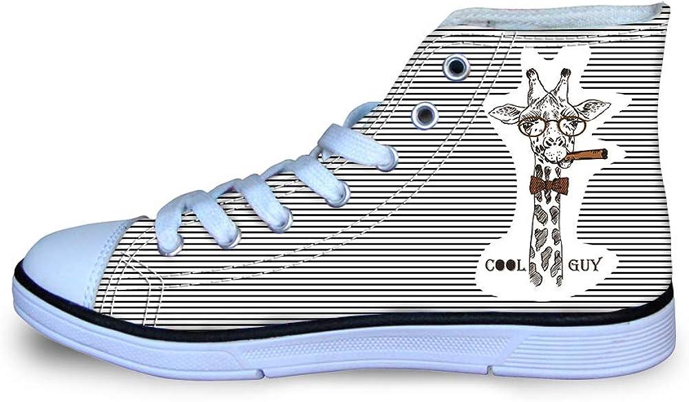 Giraffe Canvas High Top Sneaker Casual Skate Shoe Boys Girls Cool Guy Tie Cigar Glasses Dr