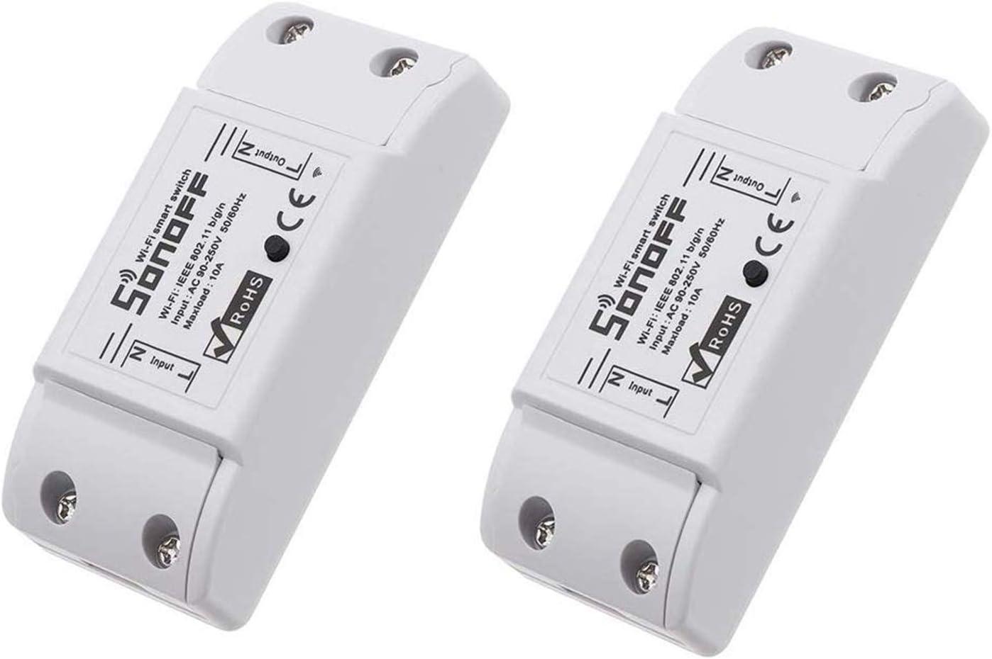 Blxecky Sonoff Interruptor inteligente WiFi con mando a distancia, inalámbrico, temporizador inteligente, control a través de Amazon Echo Alexa, Android IOS App