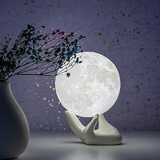 BRIGHTWORLD ムーンランプ 3Dプリント 月型ランプ 常夜灯 白いハンドスタンド付き 子供 女性 女の子 ギフト USB充電 タッチコントロール 明るさ 2トーン 温白色 3.5インチ