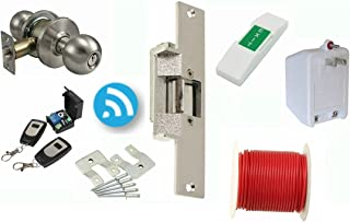 Electric Strike Door Lock and Wireless Remote Kit 14DLC : For Metal Or Wood Frame Doors : Complete Buzz In Lock System Lock Set : By Lee Electric
