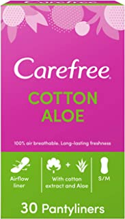 CAREFREE Daily Panty Liners, Cotton, Aloe, Pack of 30