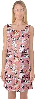 Womens Nightgown Set of Cartoon Funny Panda on A Blue Animal Sleeveless Satin Nightdresss