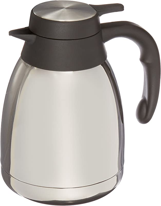 Genuine Joe GJO11952 Stainless Steel Mirror Finish Classic Vacuum Insulated Carafe With Thumb Lever Lid 1 2L Capacity Steel Gray