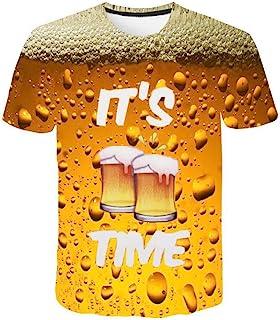 Camiseta para Hombre,Verano Manga Corta 3D Impresión Moda Festival de la Cerveza Casual T-Shirt Blusas Camisas Camiseta Jaspeada de Cuello Rojoondo Suave básica Camiseta Top vpass