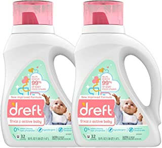 Dreft Stage 2: Active Hypoallergenic Liquid Baby Laundry Detergent for Baby, Newborn, or..