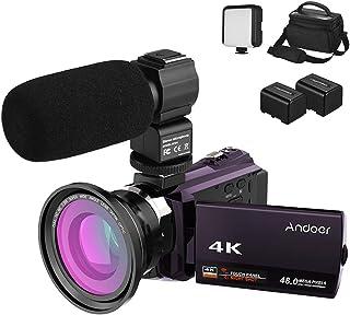 كاميرا الفيديو الرقمية Andoer 4K 1080P 48 ميجا بكسل واي فاي رؤية ليلية بالأشعة تحت الحمراء 16X تقريب رقمي مع عدسة ماكرو عريضة الزاوية 0.39X + ميكروفون خارجي + ضوء فيديو LED + حقيبة كاميرا KPKPD6787K