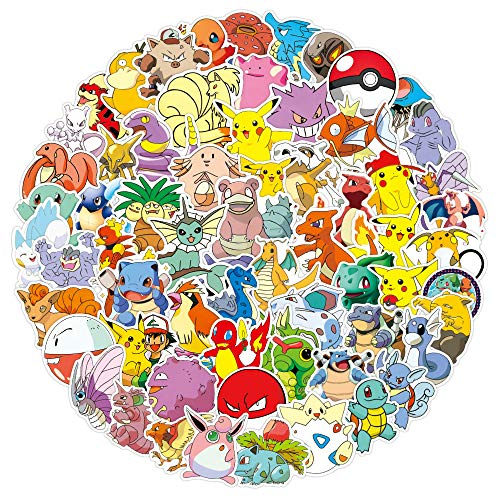 Pokemon Anime Sticker Set - 100 Stück, NAVK Aufkleber Deko für Auto Laptop Skateboard Fahrrad Moped Motorrad, Geeignet für Erwachsene Kinder