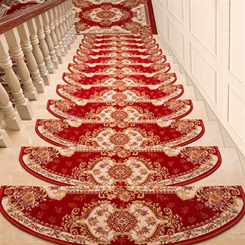 Ommda Stufenmatten Innen Set Selbstklebend 15 Stück Treppenstufen Matten Orientalischer Jacquard Anti Rutsch Waschbar Treppenschutz rot,24x65cm 15pc