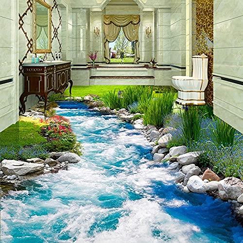 Papel pintado de suelo de foto personalizado Pequeño arroyo Agua corriente 3D Estéreo Etiqueta de suelo Mural PVC Impermeable Autoadhesivo Papel-250x175cm