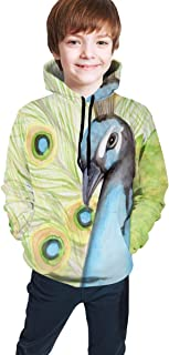 Cyloten Kid's Sweatshirt Peacock Art Watercolor Hoodie Teen's Thicken Sportswear Fleece Hood for Fall-Winter
