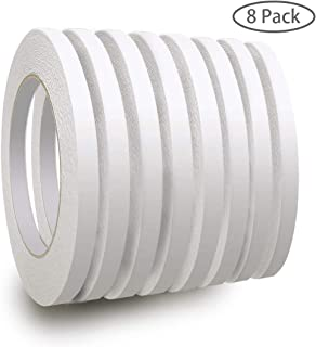 8 Rolls Double-Sided Adhesive Tape for Arts, Crafts, Photography, Scrapbooking, Card Making, Gift Wrapping and Office School Stationery Supplies, Each Roll 25 Yards Long, 1/4 inch Wide