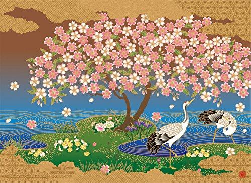 AAN28-1830 和風グリーティングカード/むねかた「桜鶴図」(中紙・封筒付) 金シルク印刷 再生紙
