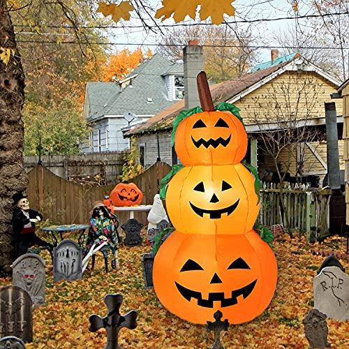 Capkmioe Halloween Decorations – 4ft Halloween Inflatables Pumpkins, Halloween Decorations Outdoor, Outdoor Halloween Decorations, Blow up Halloween Decor for Outdoor Indoor, Led Lights Pumpkin