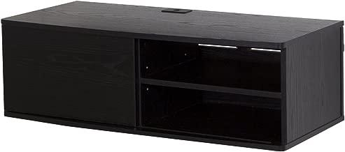 South Shore Agora Wall Mounted Media Audio/Video Console with Sliding Door, Black Oak