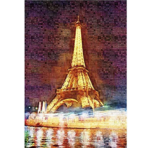 JJIEZZ 1000 Piezas de Rompecabezas de Juguetes educativos Rompecabezas de Papel 3D Torre Eiffel 1000 Piezas para Adultos-Torre Eiffel_China