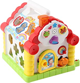 IKevan_ Multi-Function 3D House Shape Cognition Matching Toy with Music Children's Toy Set, Gift for Children Kids (Shipping from USA)