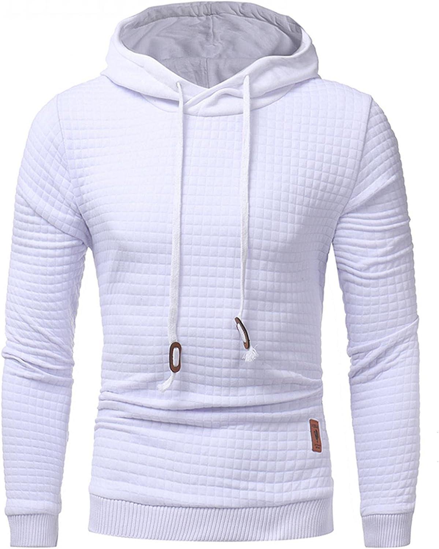 Aayomet Men's Novelty Casual Plaid Pullover Fleece Hoodie Autumn Long Sleeve Solid Color Sweatshirts