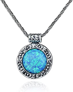 Antique Look Created Blue Fire Opal Round Pendant with 925 Sterling Silver Twisted Foxtail Chain, 20