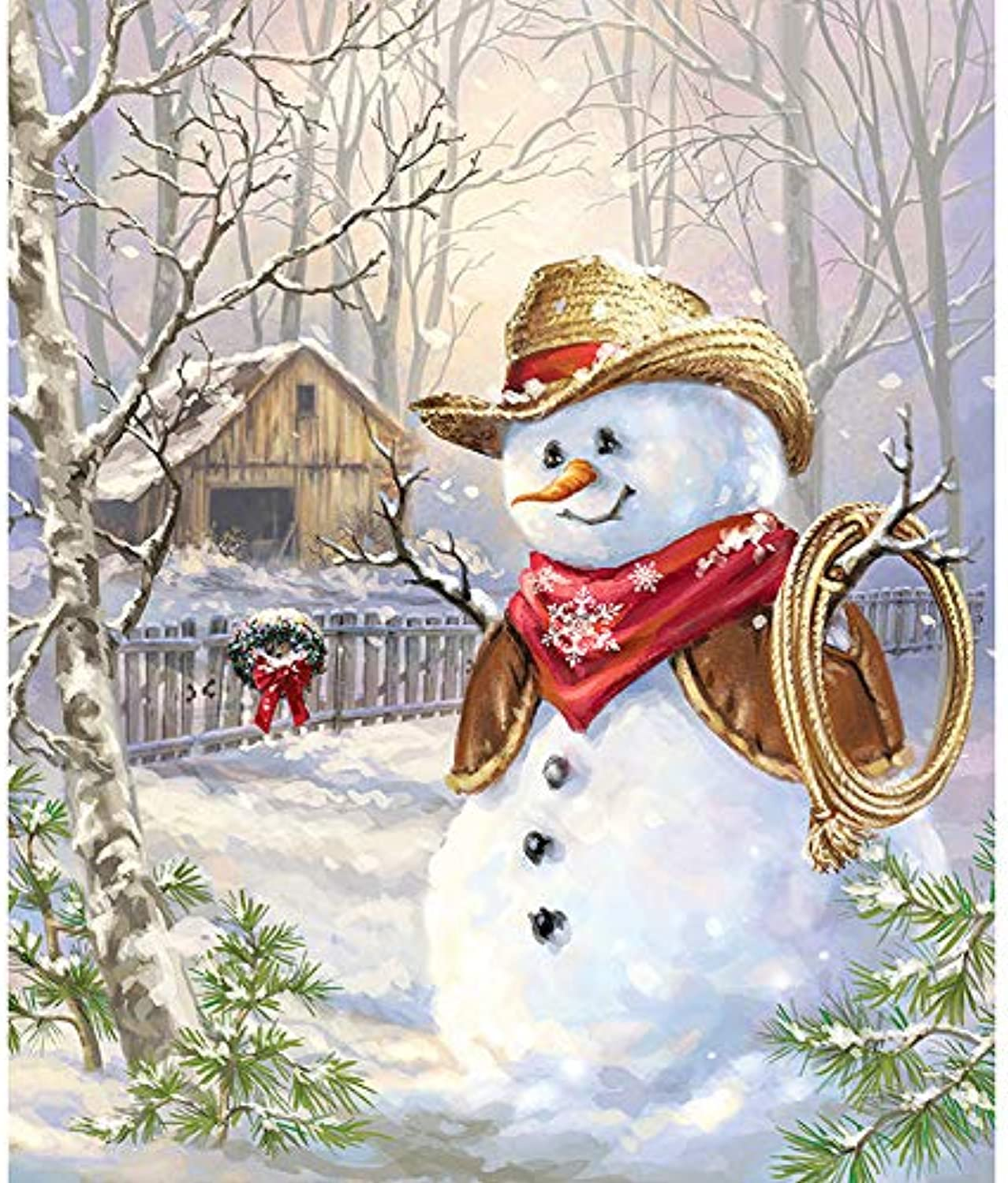 Crafts Paint Jobs By Digital Kit,Kids color By Number Kit With Tag, Xmas Snowman,16''X20''