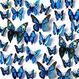 Amaonm 120pcs 10 Packages Removable 3D Butterfly Blue Stickers Making Wall Decal DIY Wall Stickers Decals Crafts Butterflies Home Decorations for Boy's and Girl's Room Bedroom Living Room (Blue)