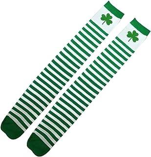 Amosfun, Calentadores Niños Algodón Leggings Cuatro Hojas Trébol Calcetines Calentadores Día de San Patricio Regalo San Patricio Accesorio