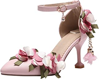 Womens Pointed Toe Stiletto High Heel Pumps Flowers Ankle Strap D'Orsay Wedding Sweet Court Shoes