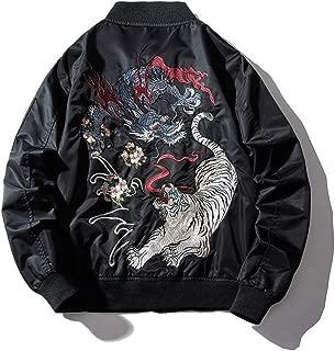 Embroidery Mens Bomber Jacket Dragon Tiger Autumn Winter Pilot Jacket Men Hip Hop Japanese Baseball Youth Jacket Streetwear