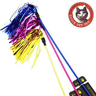 Aduck Cat Toys Interactive Teaser Wand Toy with Tassels Worms Catcher for Cats Kitten