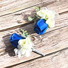 Abbie Home Prom Corsage Boutonniere Set Rose Flower Pin Wristlet for Party (Royal Blue)