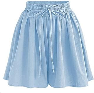 Women's Summer Chiffon Wide Leg Shorts High Waist Culottes Shorts with Decorative Drawstring