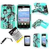 For LG L15G Sunrise L16C Lucky ITUFFY(TM) 3items Combo: LCD Screen Protector Film + Stylus Pen + Dual Layer Impact Resistance Hybrid Armor Case /w Built-In Kickstand (Blue Paisley Sun Flower)