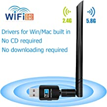 LOTEKOO USB WiFi Adapter 5dBi Antenna, 600Mbps Dual Band (2.4G/150Mbps+5G/433Mbps) Wireless Network Card Adapter for Desktop Laptop PC Windows 10/8.1/8/7/XP/Vista, MAC OS 10.6-10.14