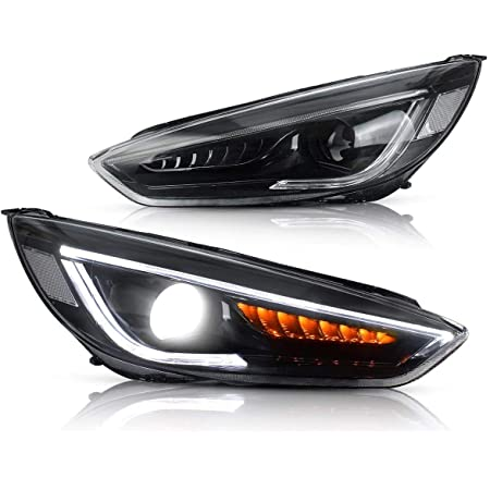 Front L//R Super Bright LED Daytime Running Light Dual Color DRL for Ford Focus 2015-2018 Replacement Front Bumper Fog Lamp Assembly Model B 1 pair